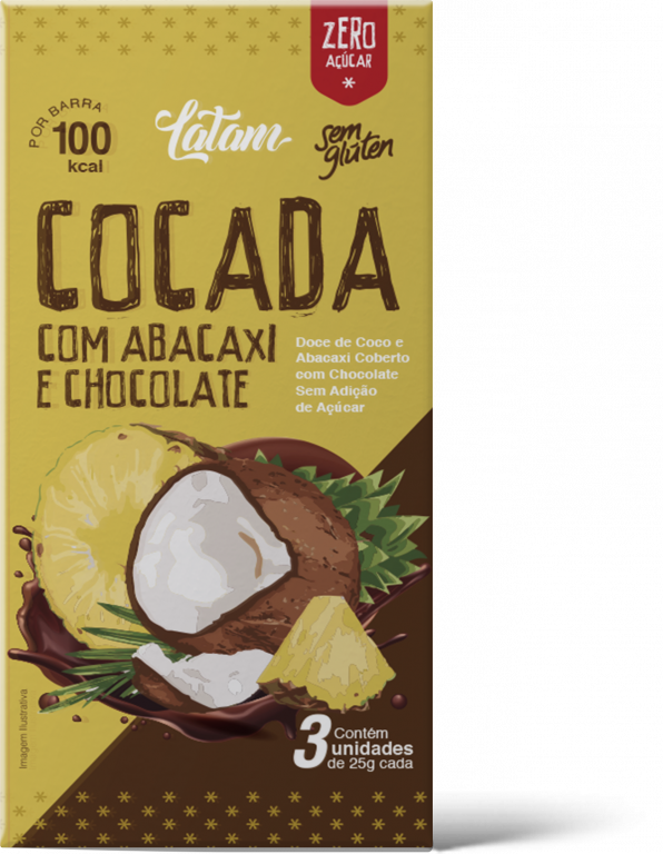 DUPRATA - LATAM COCADA ABACAXI CHOCOLATE ZERO ACUCAR 25G - UN