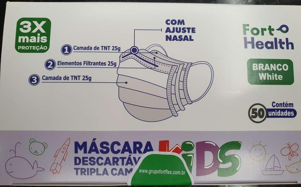 FORT FLEX - MASCARA INFANTIL TNT TRIPLA FORT HEATH BRANCA - PT.50UN