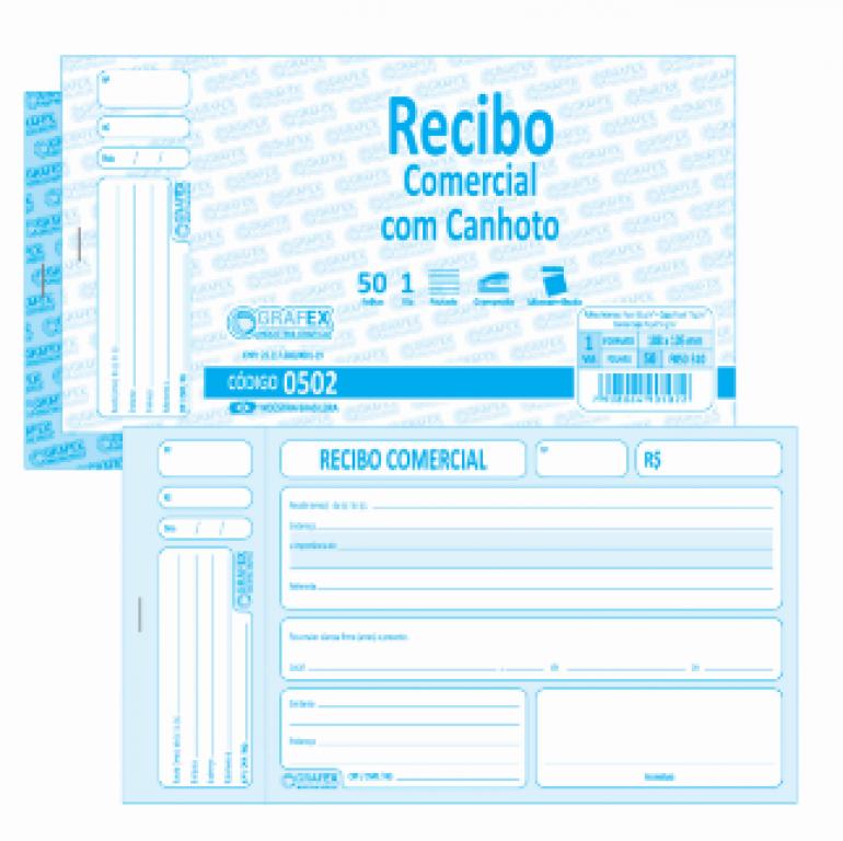 GRAFEX - RECIBO COMERCIAL F050 COM CANHOTO - PT.10 BLS