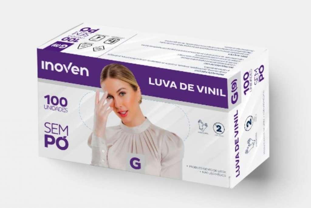 INOVEN - LUVA VINIL SEM PO (G) - CX.10X100UN