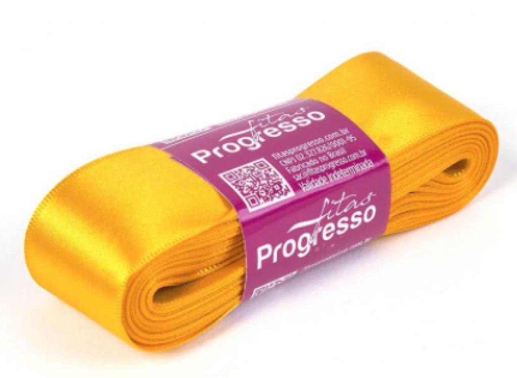 PROGRESSO - FITA CETIM SIMPLES 10MX38MM CF009 (038) AMARELO OURO - UN